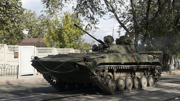 A rebel tank in Donetsk (1 Oct)