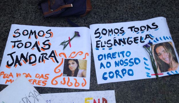 """Signs reading """"We are all Jandira"""" and """"We are all Elizangela"""" at a protest against Brazil's abortion laws in September 2014"""