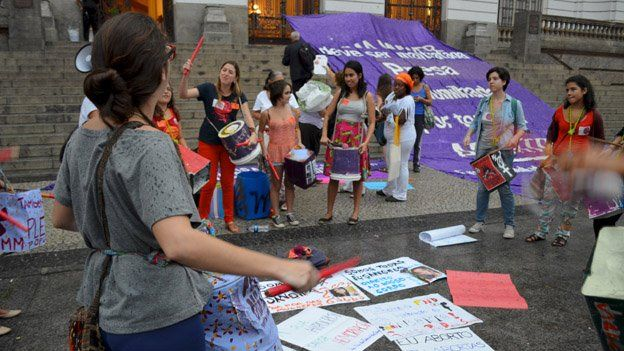 A protest against Brazil's abortion laws in Rio de Janeiro on 26 September 2014