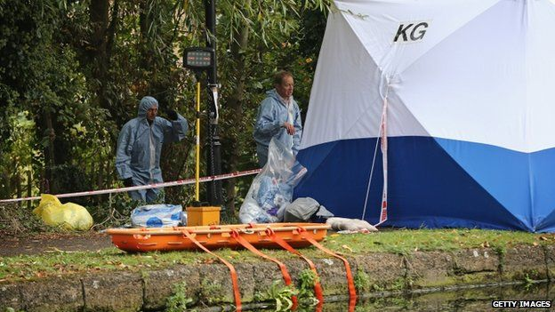 Forensic tents are set up beside the Grand Union Canal