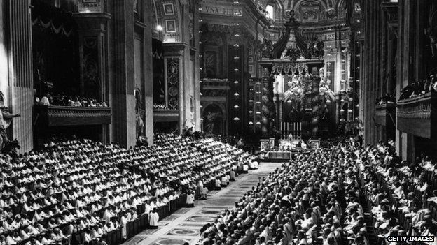 Pope Paul VI (Giovanni Battista Montini) opened the second session of the Ecumenical Council, at the Vatican. Archbishops and Cardinals from all parts of the world were present