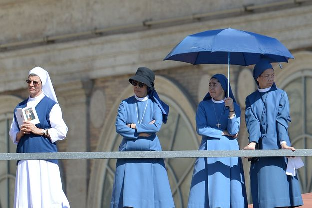 Nuns at mass in Vatican Square, September 2014
