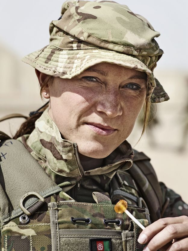 Soldier holding a lolly