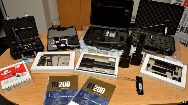 An example of the fake bomb detectors displayed by police