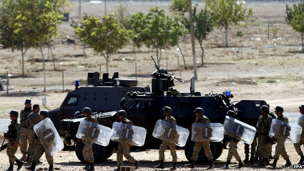Turkish forces on the border in Suruc district, near the town of Sanliurfa - 5 October