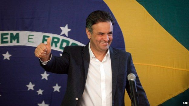 Aecio Neves, Brazilian presidential candidate, after the first round of voting on 5 October 2014