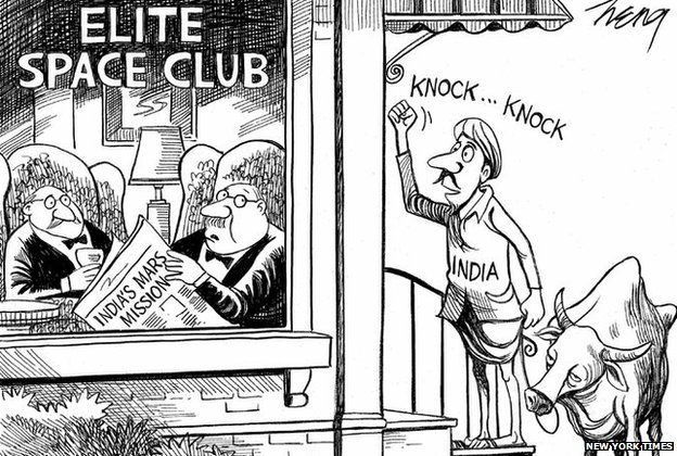India Mars Mission New York Times Apologises For Cartoon Bbc News