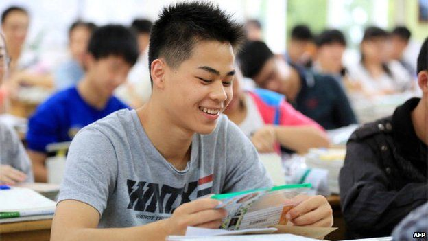 Students in China sit for the 2014 college entrance exam, or the 'gaokao', in Rongan, southwest China's Guangxi province on 7 June, 2014