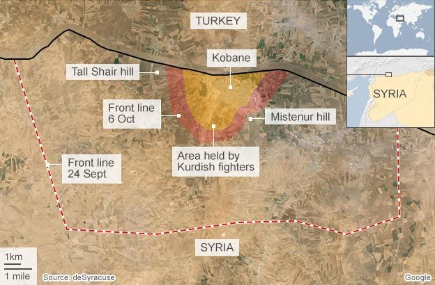 Kobane IS may soon take SyriaTurkey border town BBC News