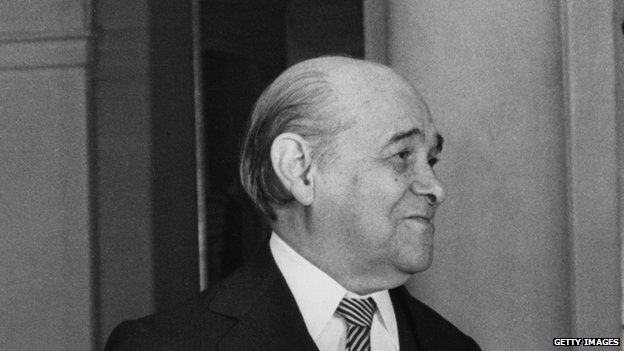 Tancredo Neves in Madrid, during a visit to Spain on 30 January 1985.