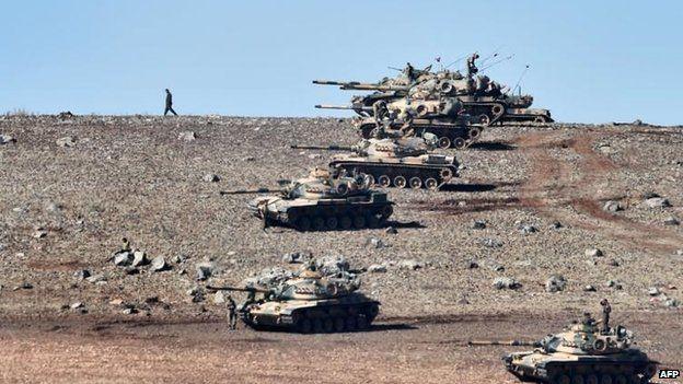 Turkish tanks at border, 6 Oct