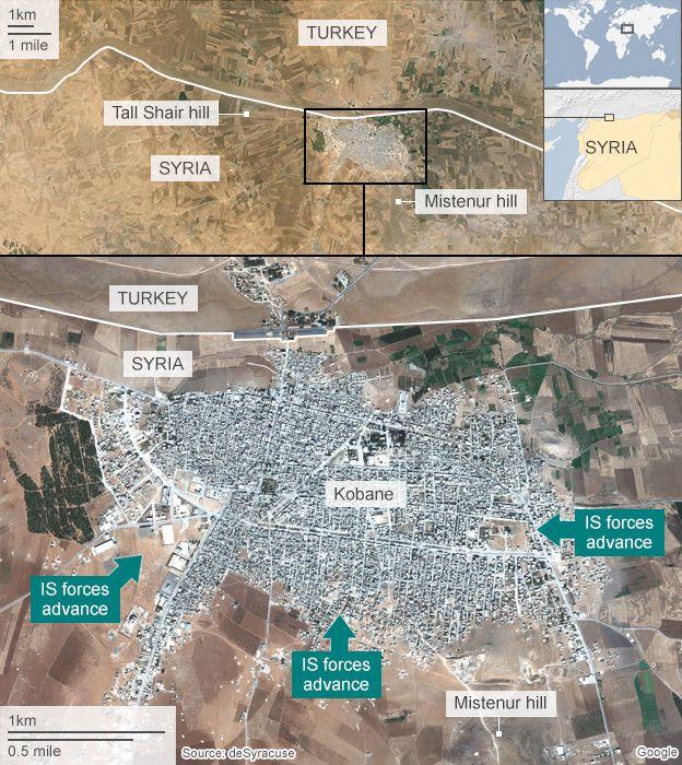 Map of Kobane showing IS advances