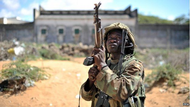 African Union forces march through the town of Golweyn in Somalia's Lower Shabelle region - 30 August 2014