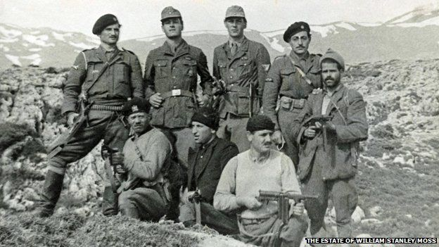 The abduction party in Xylouris' hideout, 28 April 1944 (PLF is second from left, in a German uniform)