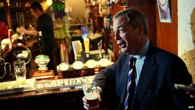Nigel Farage at the bar
