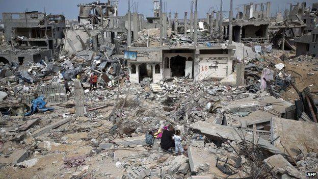 Palestinians walk amid destroyed buildings in al-Tufah, east of Gaza City, 11 October 2014
