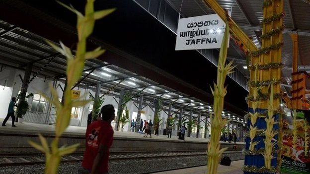 Traditional decorations are pictured at a rebuilt railway station in Jaffna, the capital of Sri Lankas northern province, 12 October 2014