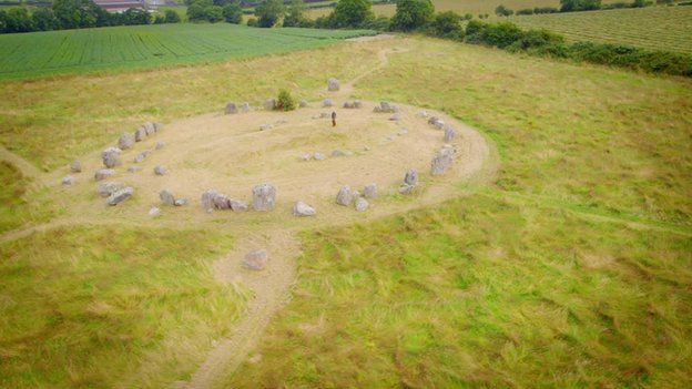 "Barra at Ballynoe Stone Circle, County Down, which he said is like Northern Ireland's ""very own version of Stonehenge"""