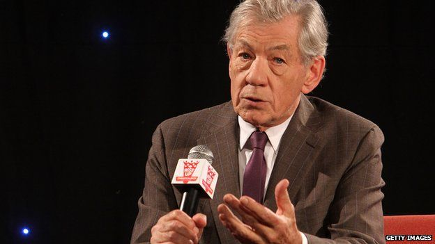 Sir Ian McKellen is interviewed during the Rise Up Christchurch telethon appeal event at Te Papa on 22 May, 2011 in Wellington, New Zealand