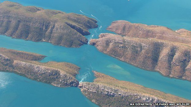 Horizontal Falls, as seen from the air