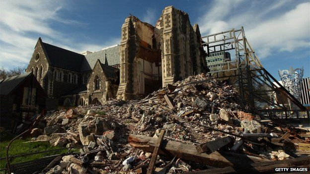 The damaged Christchurch Cathedral in Cathedral Square on 28 September, 2011 in Christchurch, New Zealand