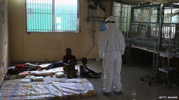 Ebola holding centre in Monrovia, Liberia.