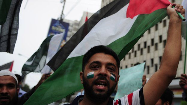 A protestor waves a Palestinian flag during August 2014 demonstrations in Pakistan.