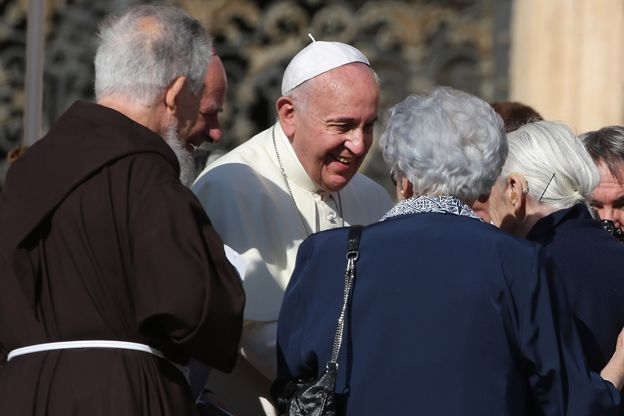 Pope Francis attends a celebration for grandparents and the elderly at St. Peter's Square