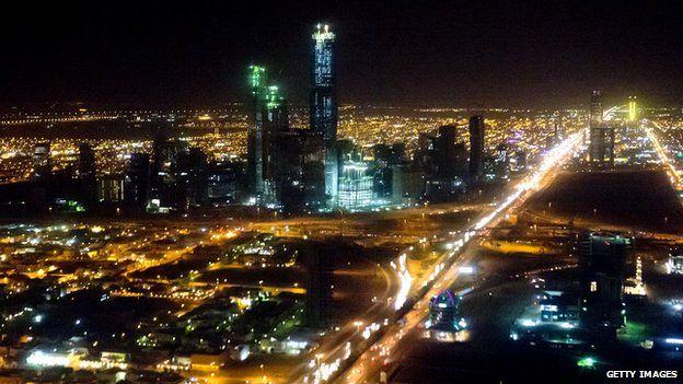 The skyline of Riyadh, Saudi Arabia