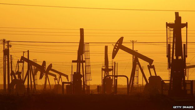 Pumps in a California oil field over the Monterey Shale formation where gas and oil extraction using hydraulic fracturing, or fracking, is on the verge of a boom