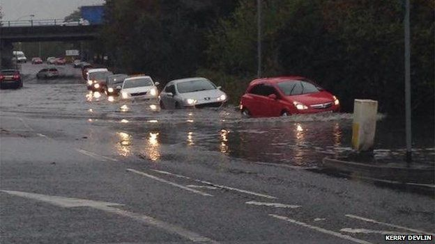 Many motorists at Kingsway, Dunmurry, are in deep water