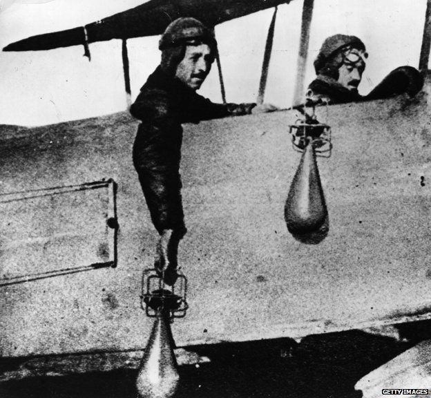 Pilots ready to drop bombs by hand