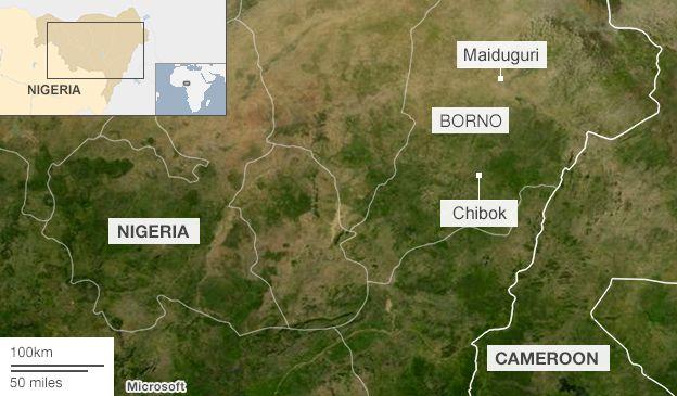 BBC map of Chibok in Nigeria