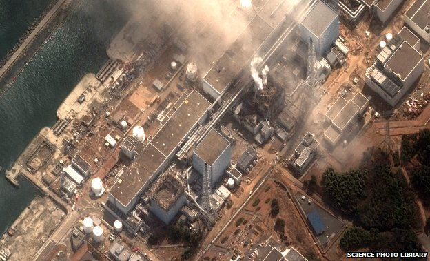 Aerial view showing damage of Fukushima after 2011 earthquake and Tsunami