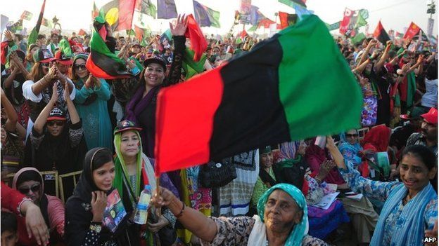 Supporters of Bilawal Bhutto Zardari, chairman of the Pakistan Peoples party (PPP), gather during a rally in Karachi on October 18
