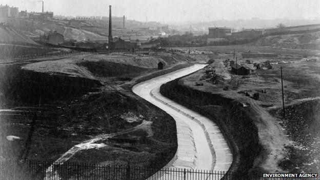 River Medlock in the 1800s