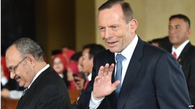 Australian PM Tony Abbott attends Indonesian inauguration in Jakarta (20 Oct 2014)