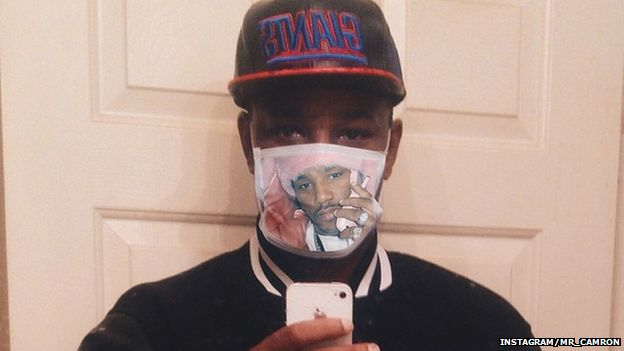 Cam'ron wearing his Ebola mask