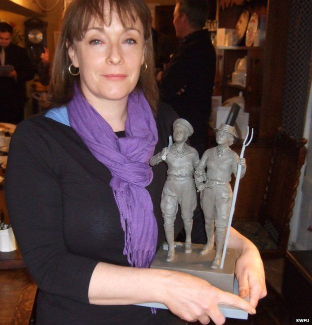 Denise Dutton and clay maquette