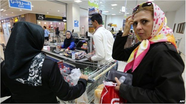 Iranian women shop at the Laleh Park shopping centre in Tabriz in Iran's north-western East-Azerbaijan province.