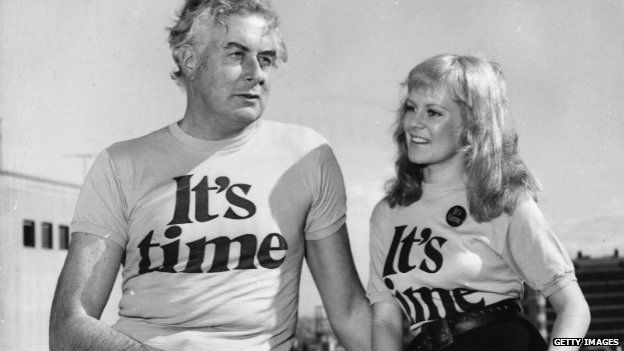 Gough Whitlam with singer Little Pattie during his election campaign - 21 July 1972