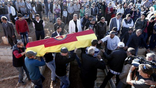 Funeral of Kurdish fighter in Turkish town of Suruc - 21 October
