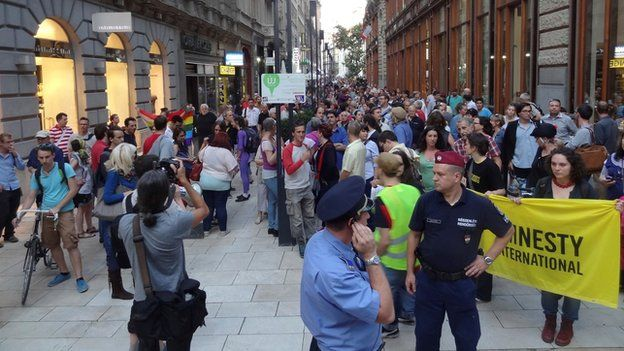 Anti-government protest in defence of NGOs in Budapest (Sept 2014)