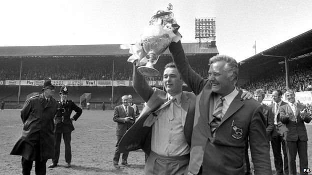 Brian Clough and Peter Taylor with the Football League championship at the Baseball Ground trophy in 1972