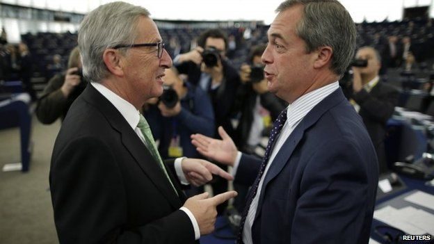 Nigel Farage speaking to the incoming European President Jean-Claude Juncker on Wednesday