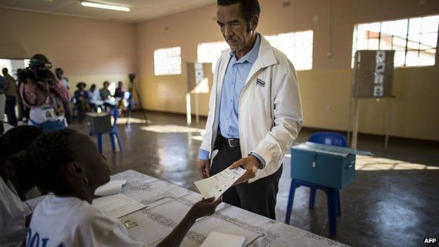 President Khama at a polling station - 24 October 2014