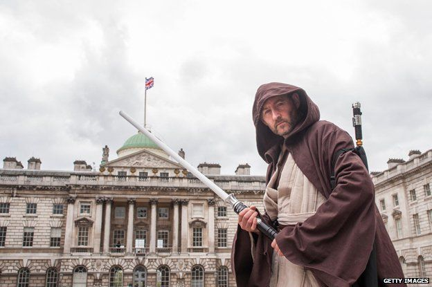 Man dressed as Jedi outside Somerset House in London