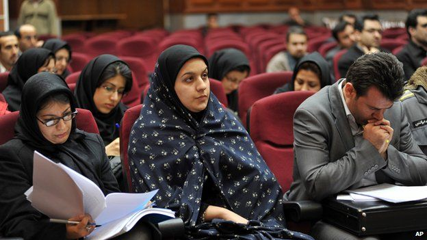 In this picture taken on Dec. 15, 2008, Iranian Reyhaneh Jabbari, center, sits while attending her trial in a court in Tehran, Iran