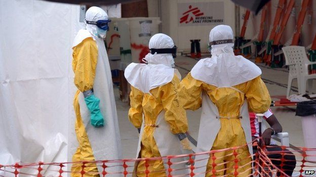 Health workers at an Ebola treatment centre run by Medecins Sans Frontieres in Monrovia, Liberia, on October 27, 2014
