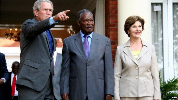 Michael Chilufya Sata, Geroge and Laura Bush